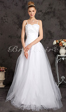 A-line Floor-length Taffeta Spaghetti Straps Sweetheart Wedding Dress