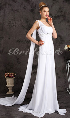 A-line Sweetheart Chiffon Chapel Train Crystal Detailing One Shoulder Wedding Dress