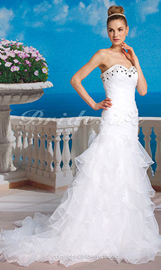 Sheath/Column Strapless Organza Tiered Chapel Train Sweetheart Wedding Dress