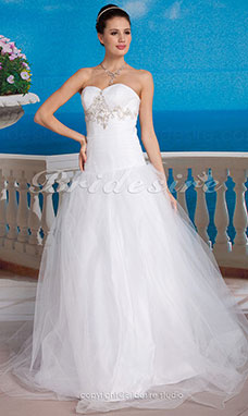 A-line Tulle Strapless Floor-length Sweetheart Wedding Dress