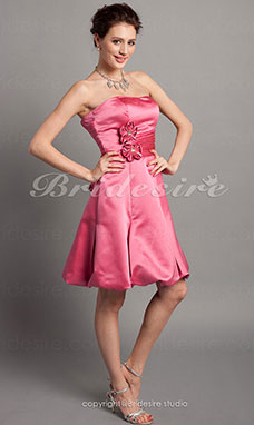 A-line Side Draping Sweetheart Short/Mini Strapless Satin Bridesmaid Dress