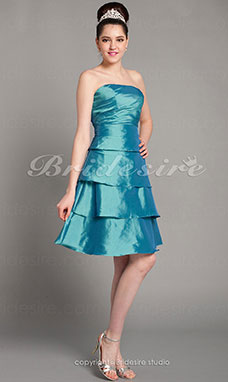 A-line Taffeta Knee-length Tiers Bridesmaid Dress