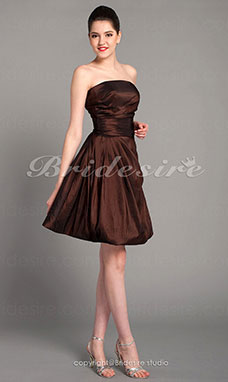 A-line Taffeta Short/Mini Bridesmaid Dress With Side Draping