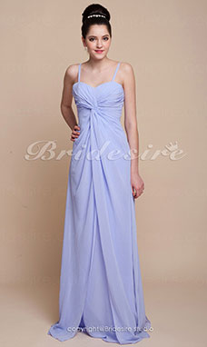 Sheath/Column Spaghetti Straps Floor-length Chiffon Sweetheart Bridesmaid Dress