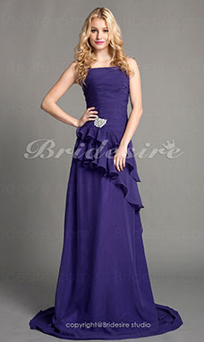 Sheath/Column Cascading Ruffles Chiffon Floor-length Bridesmaid Dress
