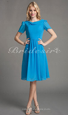 A-line Chiffon Short/Mini Cowl Bridesmaid Dress