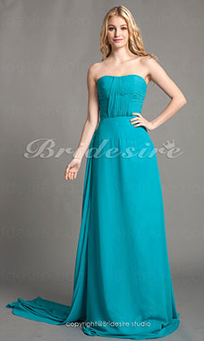 Sheath/Column Chiffon Floor-length Sweetheart Bridesmaid Dress With Sash/Ribbon