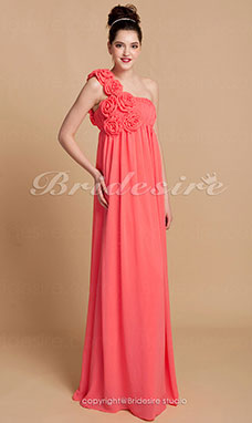Sheath/Column Floor-length Chiffon One Shoulder Bridesmaid Dress With Flower(s)