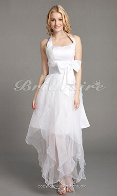 A-line Satin And Organza Asymmetrical Halter Bridesmaid Dress With Bow(s)