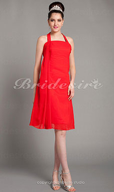 Sheath/Column Chiffon Short/Mini Halter Bridesmaid Dress