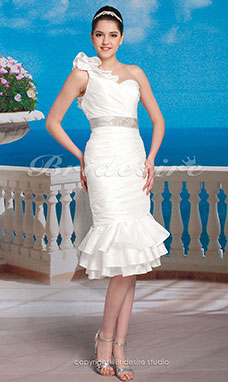 Sheath/ Column Taffeta Knee-length Asymmetrical One Shoulder Wedding Dress