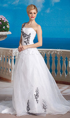 Ball Gown Organza Court Train One Shoulder Wedding Dress