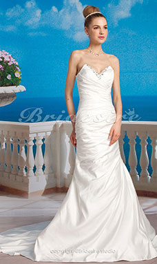 Mermaid/ Trumpet Satin Strapless Sweetheart Wedding Dress