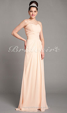 Sheath/Column Chiffon Floor-length Sweetheart Evening Dress With Criss Cross