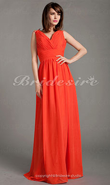 Sheath/Column Floor-length V-neck Criss Cross Chiffon Beading Ruching Evening Dress
