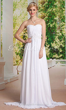 Sheath/Column Chiffon Strapless Sweetheart Wedding Dress