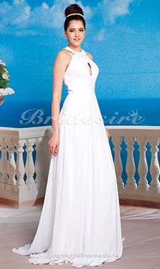 A-line Chiffon Floor-length Jewel Evening Dress
