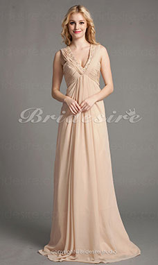 Sheath/Column Chiffon Floor-length V-neck Evening Dress With Beading And Ruching