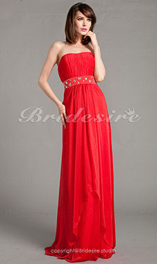 Sheath/Column Chiffon Floor-length Strapless Evening Dress With Beading And Draping