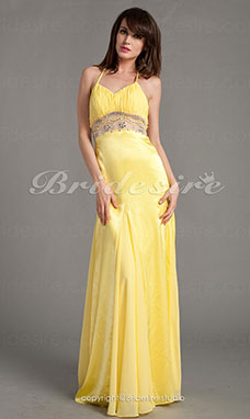 Trumpet/Mermaid Chiffon And Satin Floor-length V-neck Evening Dress