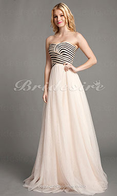 Sheath/Column Tulle Floor-length Sweetheart Evening Dress With Criss Cross And Draping