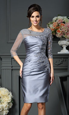 Sheath/Column Jewel 3/4 Length Sleeve elastic silk-like satin Dress