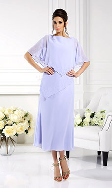 Sheath/Column Bateau Sleeveless Chiffon Mother of the Bride Dress