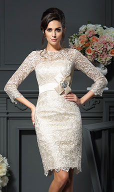 Sheath/Column Scoop 3/4 Length Sleeve Lace Mother of the Bride Dress
