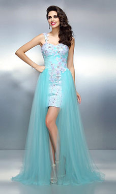 Sheath/Column One Shoulder Sleeveless Tulle Dress