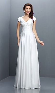 A-line Strapless Sleeveless Chiffon Dress
