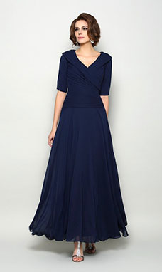 A-line V-neck Half Sleeve Chiffon Mother of the Bride Dress
