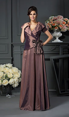 A-line V-neck Short Sleeve Taffeta Mother of the Bride Dress