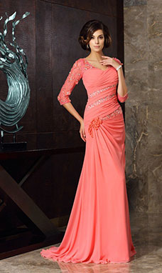 Trumpet/Mermaid Sweetheart Half Sleeve Chiffon Mother of the Bride Dress