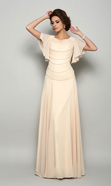 A-line Square Short Sleeve Chiffon Mother of the Bride Dress