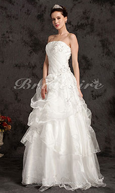 Ball Gown Floor-length Organza Strapless Wedding Dress