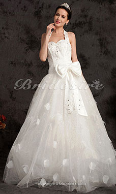 Ball Gown Floor-length Tulle Halter Wedding Dress