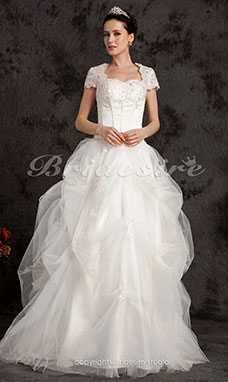 Ball Gown Floor-length Satin And Tulle Sweetheart Wedding Dress