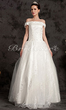 Ball Gown Floor-length Taffeta Off-the-shoulder Wedding Dress