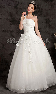 Ball Gown Floor-length Tulle One Shoulder Wedding Dress
