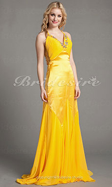 Trumpet/Mermaid Chiffon and Satin Sweep Train V-neck Evening Dress