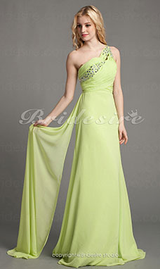 A-line Chiffon Sweep Train One-Shoulder Evening Dress