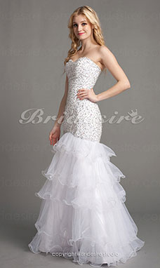 Trumpet/Mermaid Tulle Floor-Length Strapless Evening Dress