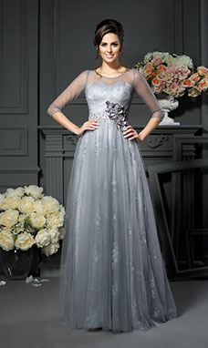 A-line Scoop 3/4 Length Sleeve Tulle Mother of the Bride Dress