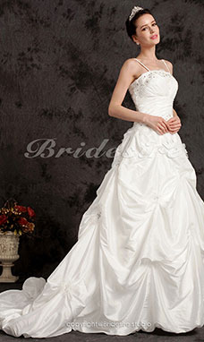 Ball Gown Chapel Train Taffeta Spaghetti Straps Wedding Dress