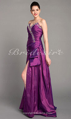A-line Taffeta Floor-length Strapless Evening Dress