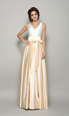 A-line V-neck Sleeveless Satin Dress