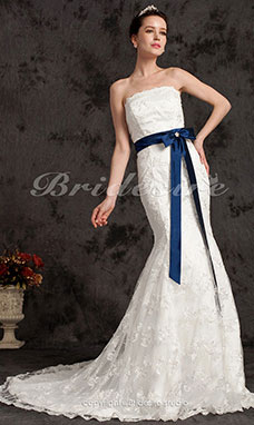Trumpet/Mermaid Satin Chapel Train Strapless Wedding Dress with A Belt