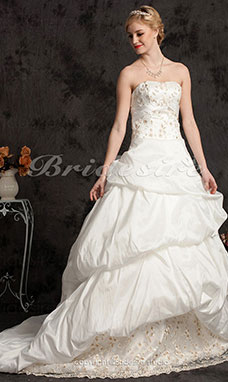 Ball Gown Taffeta Chapel Train Strapless Wedding Dress With Pick-ups