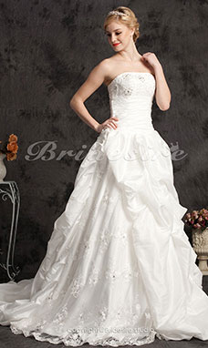 Ball Gown Cathedral Train Satin And Taffeta Strapless Wedding with Pick-ups