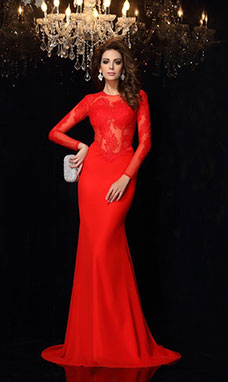 Trumpet/Mermaid Scoop Long Sleeve Chiffon Dress